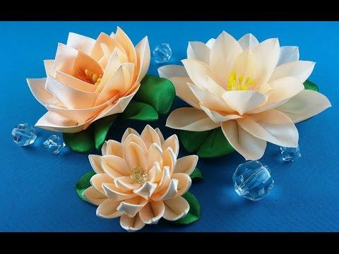 Ribbon lotus:3 ways to make/Lotus de las cintas:3 variantes de hacer/Лотос из лент: 3 варианта