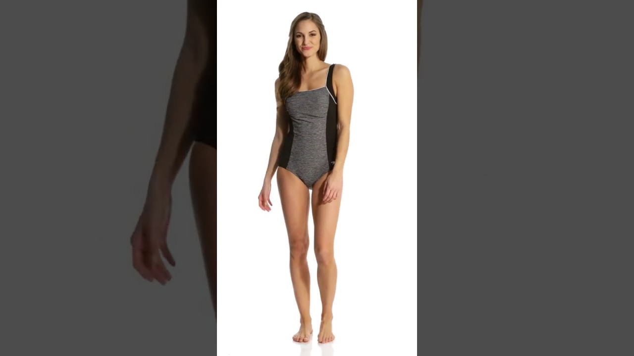 97d8569c129e6 Speedo Women s Endurance+ Texture Square Neck Chlorine Resistant One Piece  Swimsuit