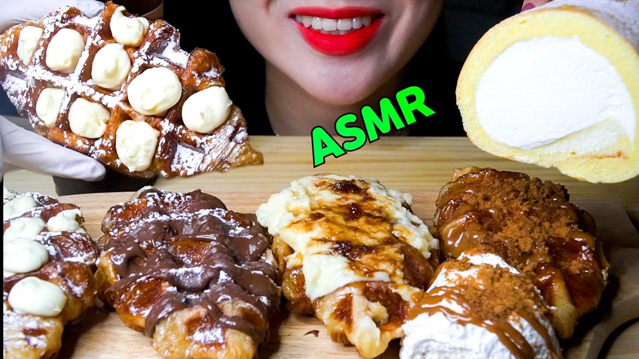 [SUB]ASMR 바삭바삭 크로플이랑 도지마롤 먹방 CROISSANT WAFFLES & ROLL CAKE MUKBANG