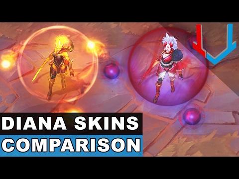 All Diana Skins Comparison Blood Moon, Infernal, Lunar Goddess, Dark Valkyrie (League of Legends)