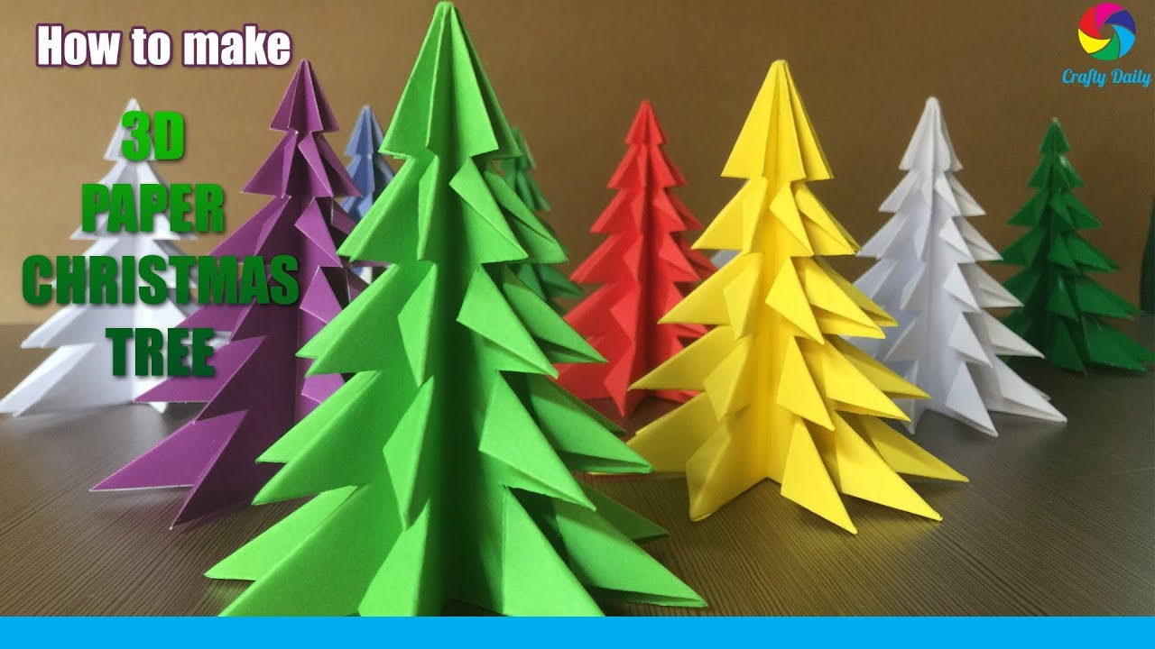 3d Paper Christmas Tree Template.3d Paper Christmas Tree How To Make A 3d Paper Xmas Tree Diy Tutorial