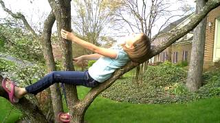 Epic ninja girl finds perfect tree to climb