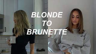 BLONDE TO BRUNETTE: Come to the salon with me! Going darker and shorter