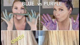 BLUE vs PURPLE SHAMPOO Brassy Hair | skip2mylou