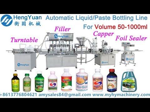 50-1000ml liquid/ paste bottle turntable feeding filling capping aluminium  foil sealing machine line