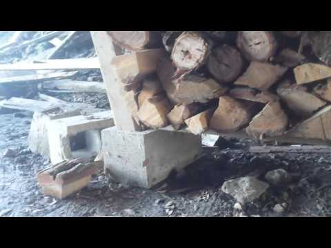Fire Wood Pile: Stacking with concrete cinder blocks