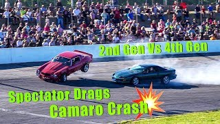 Spectator Drags Camaro Crash!! 2nd Gen Vs 4th Gen