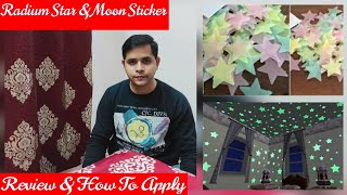 Radium Moon & Stars For Room | Glow In The Dark Star Moon Stickers | Fluorescent Wall Stickers.