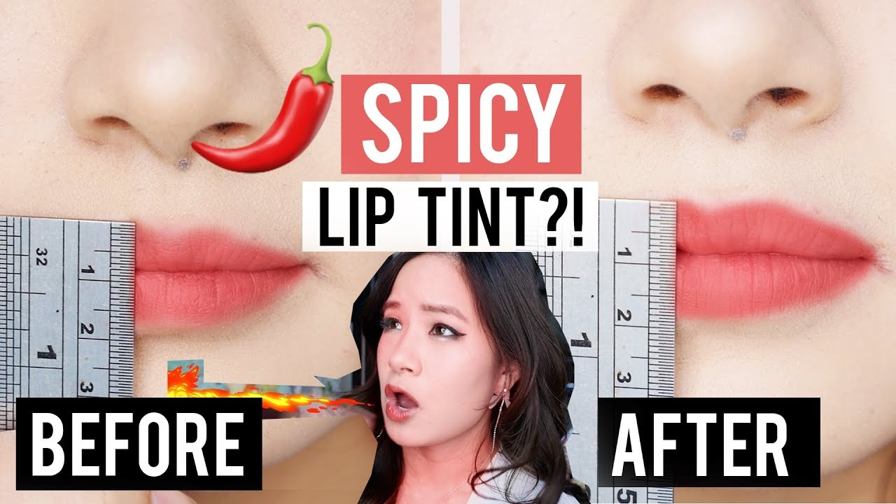 INSTANT BIG LIPS?! Trying KOREAN SPICY HOT LIP TINT!? wtf lol