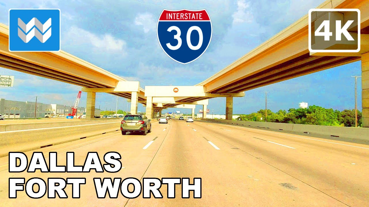 [4K] Driving: Forth Worth to Dallas in Texas USA via I-30 Highway Eastbound