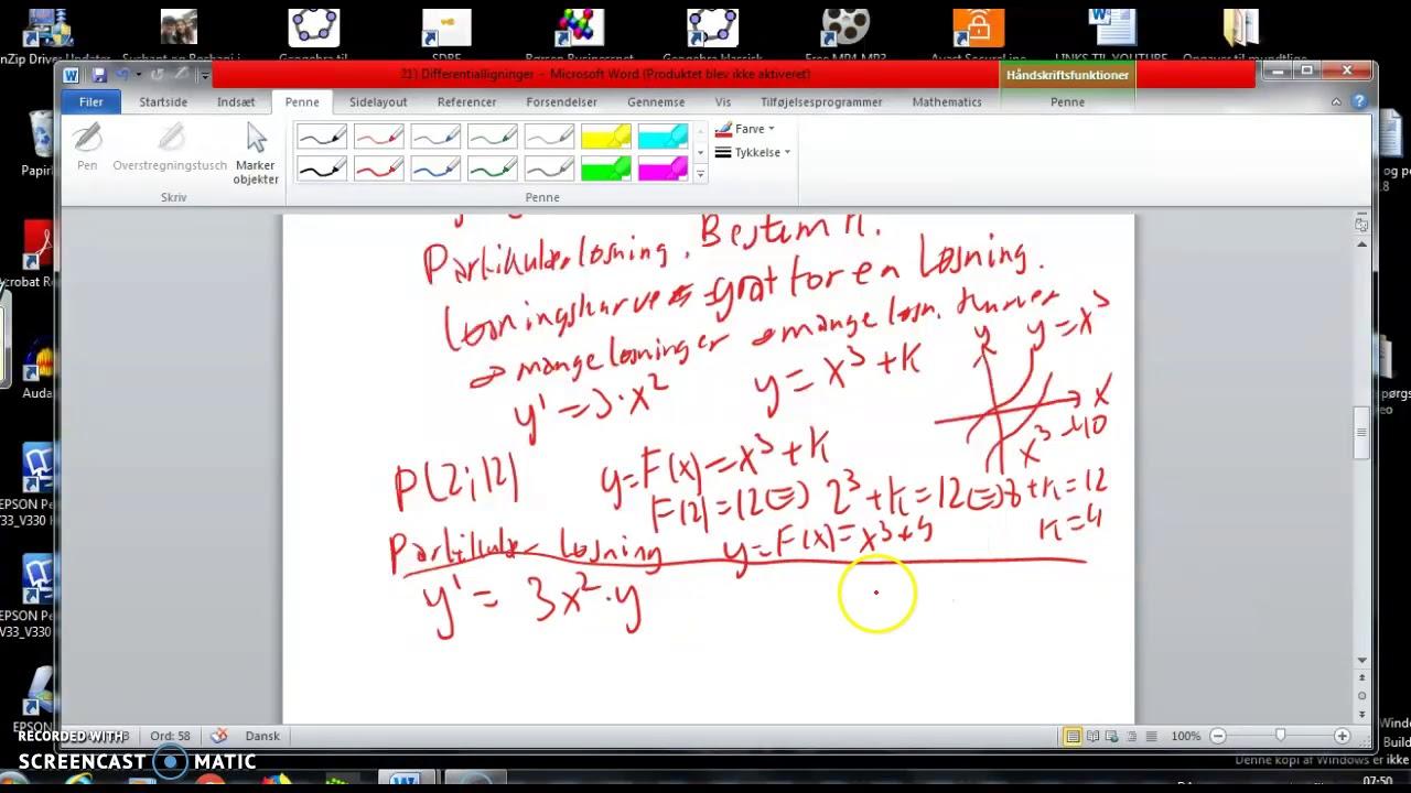 Differentialligninger og separabel differentialligning