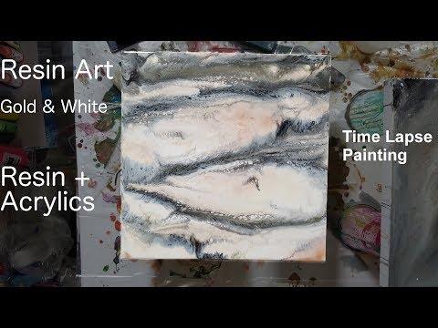 Resin Art   Gold & White Marble