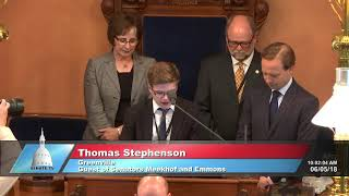 Sen. Meekhof welcomes Thomas Stephenson to deliver the invocation at the Michigan Senate