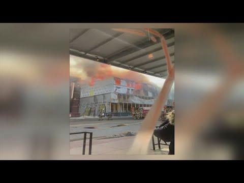 Iowa City construction worker stuck in crane as crews battle blaze
