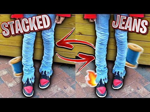 HOW TO MAKE STACKED JEANS | EXTENDO JEANS DIY 🧵🔥