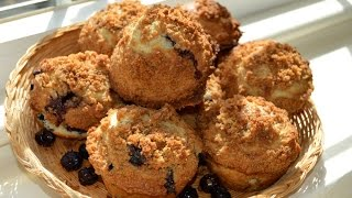 Blueberry Muffins With A Crumb Topping (bakery Quality)