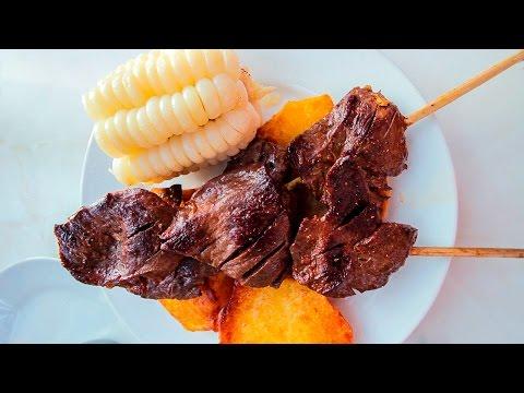 PERUVIAN FOOD. ANTICUCHOS LIMA PERU