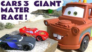 Cars 3 McQueen with GIANT Mater racing Jackson Storm & Funny Minions - Car toys for kids TT4U