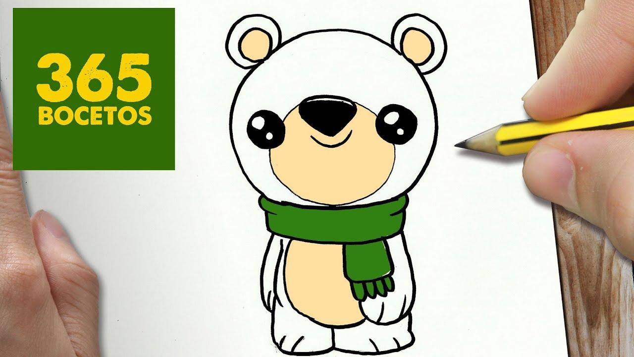 COMO DIBUJAR UN OSO POLAR PARA NAVIDAD PASO A PASO Dibujos kawaii navideños , draw a polar bear , YouTube