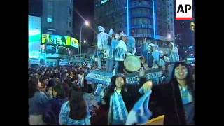 ARGENTINA: FANS CELEBRATE WOŔLD CUP WIN OVER ENGLAND