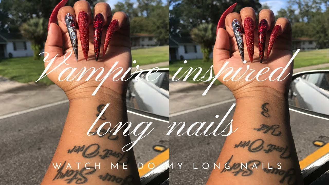 Watch Me Do My LONG Vampire Inspired Nails | Nicole Diary - YouTube