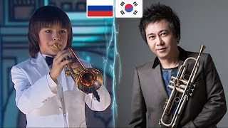 Популярный трубач в Корее смотрит на русского 10ти летнего трубача !!