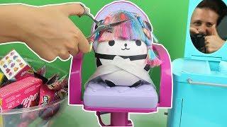 Squishy Pandanın Saçını kesiyoruz !! kuaförcülük oynuyoruz sürpriz Oyuncak challenge Bidünya Oyuncak