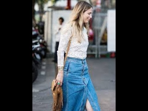 Long Denim Skirts Outfits 2018 Youtube