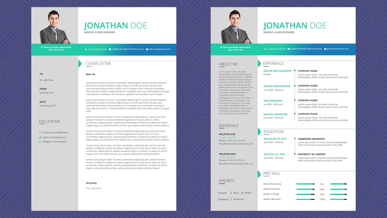 free professional resume template - magic color pro