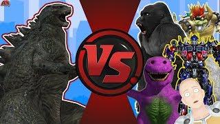 Godzilla vs The World! (Godzilla vs Optimus Prime, King Kong, Barney, & More) Godzilla Animation
