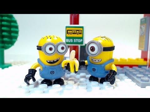 Bus Stop Minions Children Cartoon