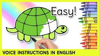 How to Draw a TURTLE! Preschool Learning Video