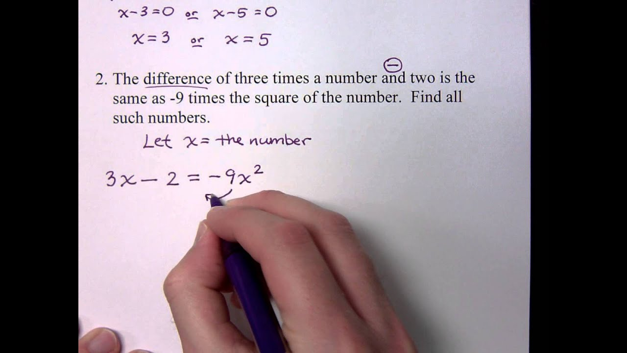 Word Problems With Factoring