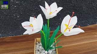 DIY  BUNGA SAFFRON Dari Plastik Kresek,How to make saffron flower handicrafts from plastic bags