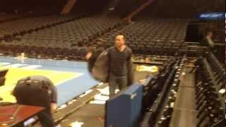 messing around on the Knicks court at Madison Square Garden