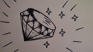 Как нарисовать бриллиант (алмаз, крисстал) Уроки рисования для начинающих и детей