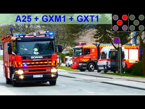RTW A25 + HLF GXM1 + RW GXT1 falck gladsaxe beredskab øst brandbil i udrykning