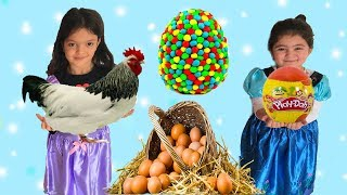 SÜRPRİZ YUMURTALAR! YUMURTAMI TAVUKTAN ÇIKAR, TAVUK MU YUMURTADAN BİLEMEDİK - Comedy for Kids