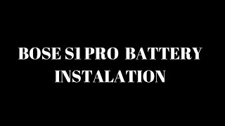 How To Install The Battery For The Bose S1 Pro PA System