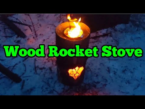 68. Best Wood Rocket Stove / Swedish Fire Log - Hand Tools Only in Winter
