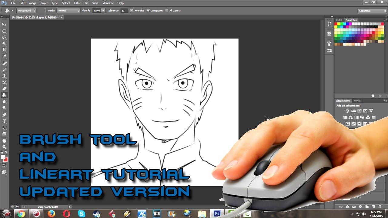 how to draw anime and setup brush for linework in photoshop cs6 by