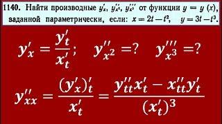 Производная от параметрически заданной функции