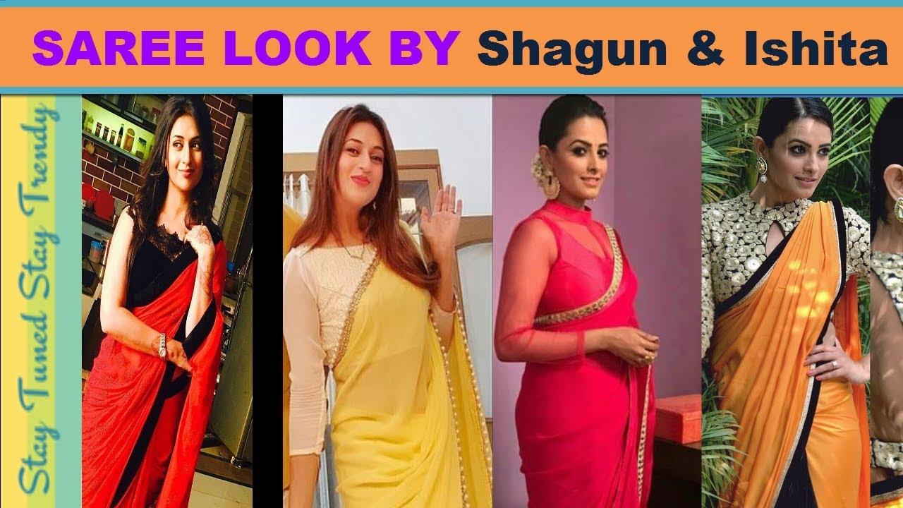 70f08d7727098a Divyanka Tripathi (Ishita) & Anita (Shagun) Saree/Blouse Design Collection  | Indowestern Style Saree
