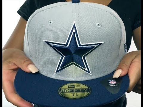57d7a7a52ee Cowboys  NFL LOGO-GRAND  Grey-Navy Fitted Hat by New Era - YouTube