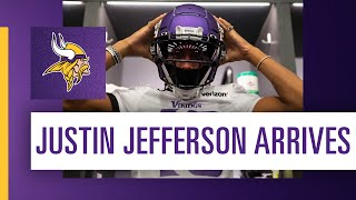 After being selected in the 2020 nfl draft april, minnesota vikings wr justin jefferson finally arrived and entered tco performance center this week t...