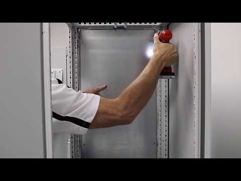 Installing a partition wall between bayed TS 8 large enclosures