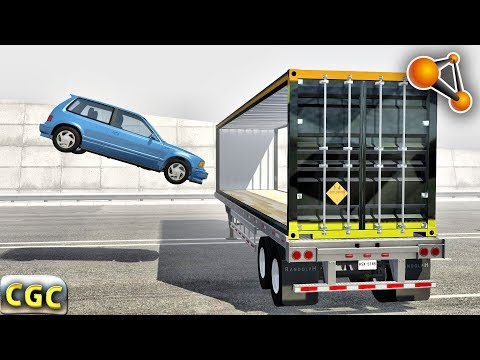 Open Cargo Trailer DOORS Stunts and Crashes BeamNG drive