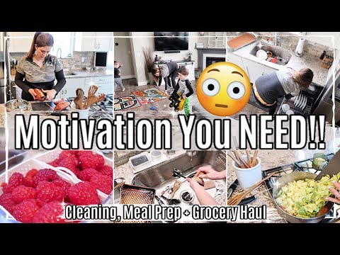 *NEW* CLEAN WITH ME 2020 + HOMEMAKING TIPS :: CLEANING MOTIVATION, MEAL PREP + HEALTHY GROCERY HAUL