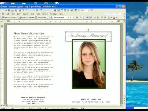 Free Funeral Program Template YouTube – Funeral Service Template Word