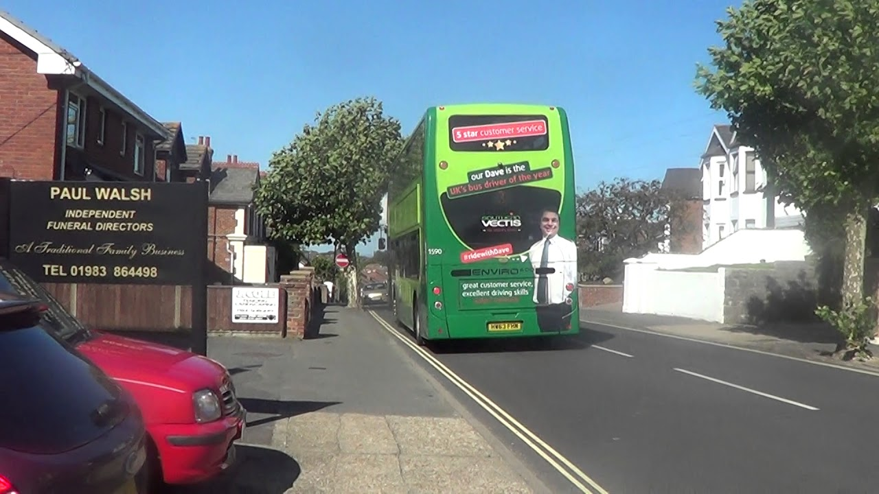 Southern Vectis bus route 3 departing Shanklin bus stop, 15th August 2017